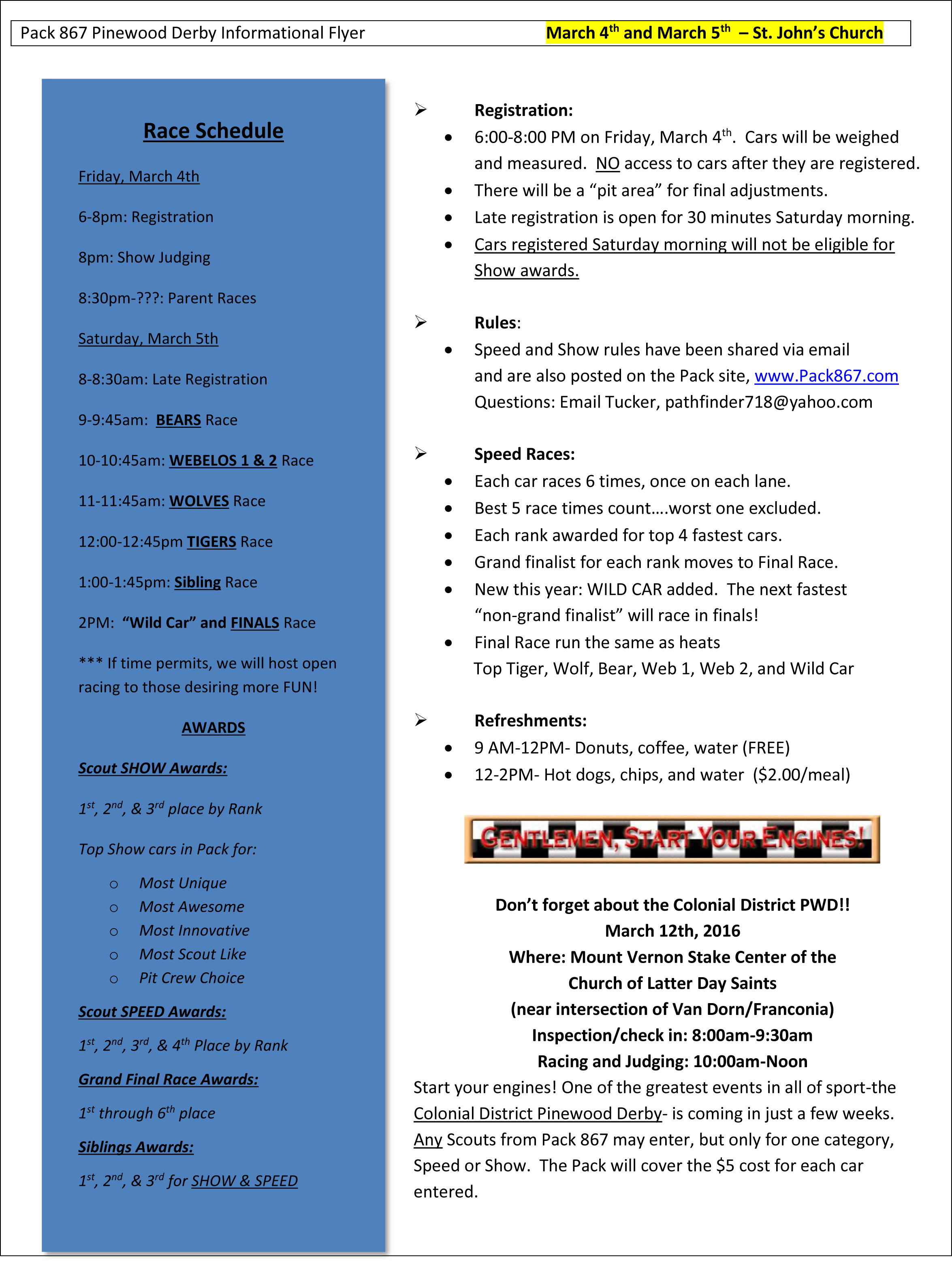 2015-2016 Pack 867 Pinewood Derby Informational Flyer