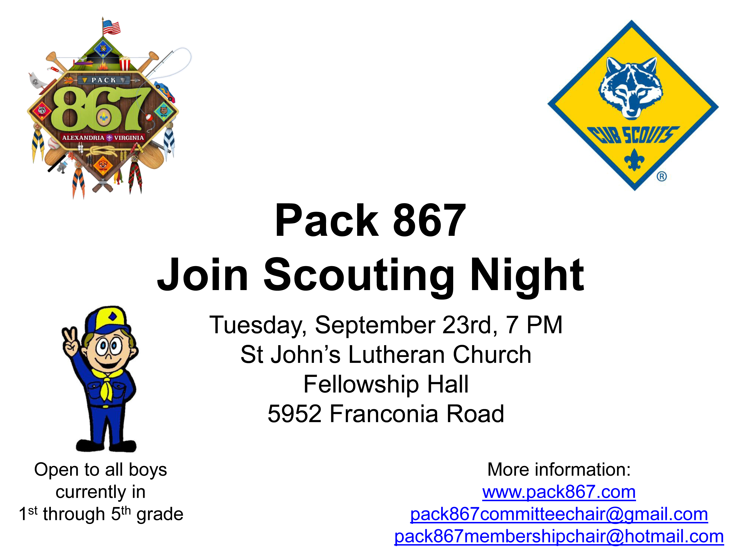 Join scouting night cub scout pack 867 for Cub scout powerpoint template